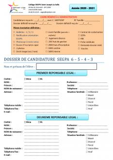 DOSSIER CANDIDATURE SEGPA 2020